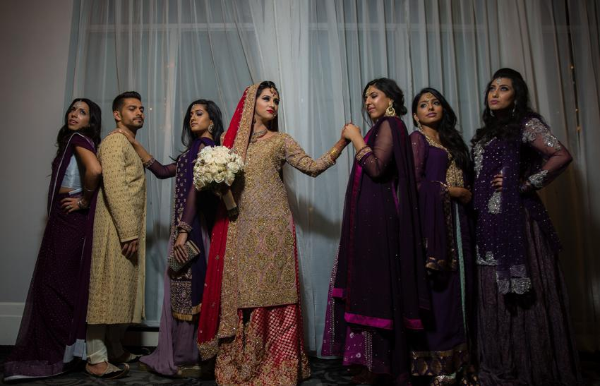pakistani bride with bridemaids