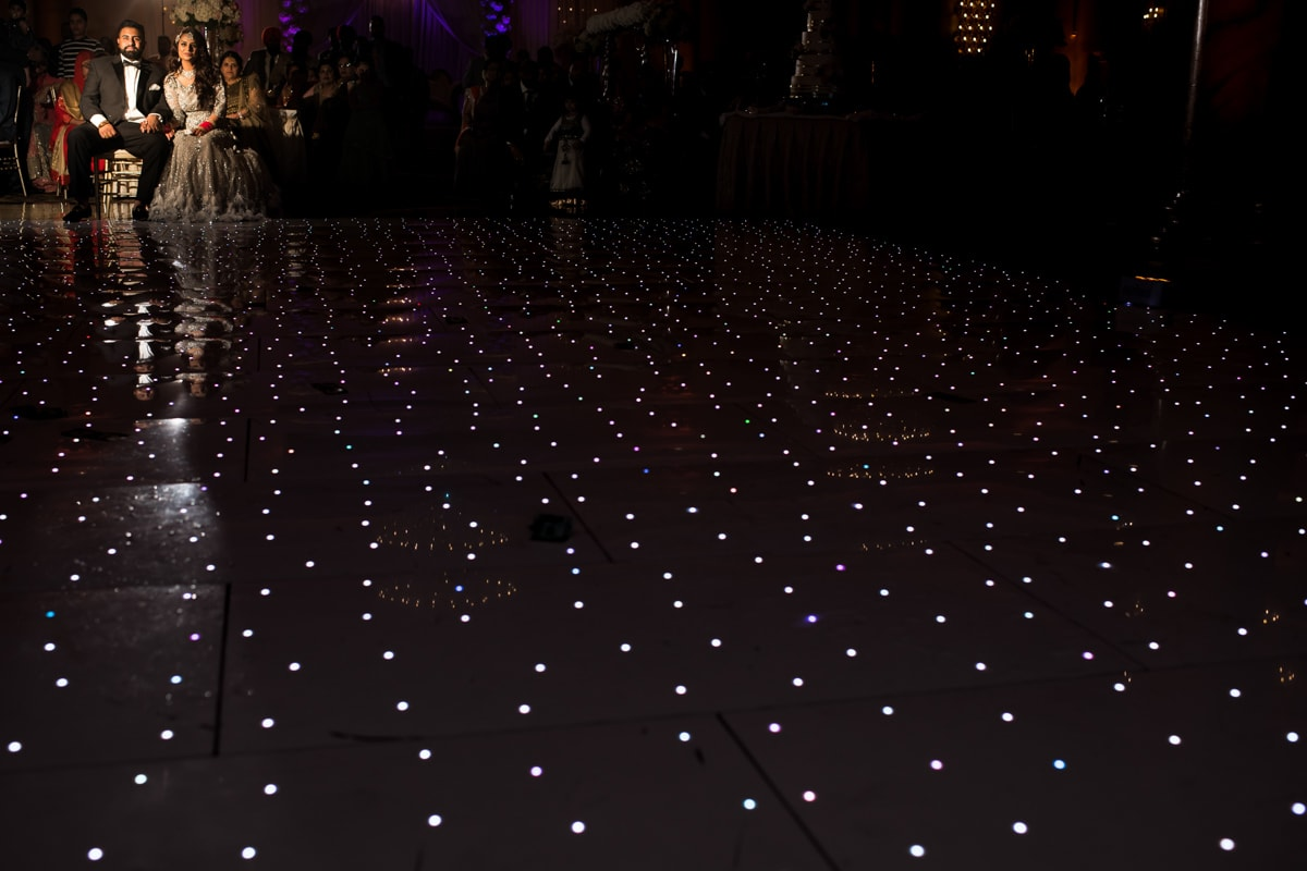 LED lit floor at Indian reception
