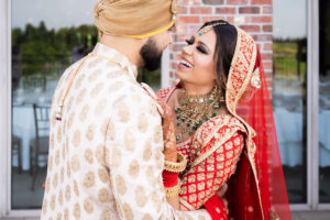 First look - couple share smiles and laughter