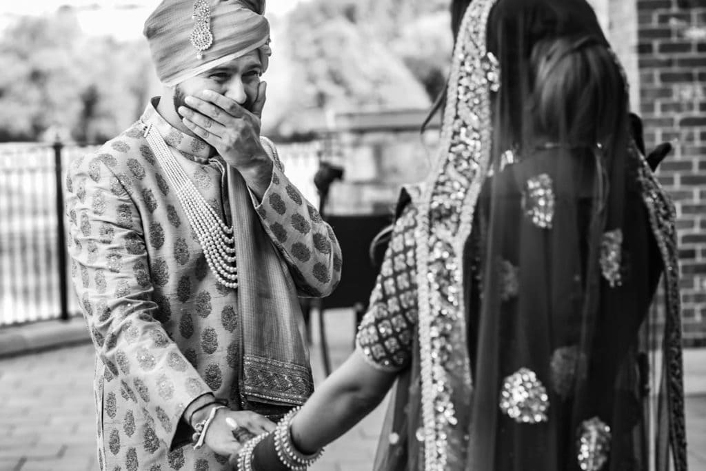 First look - groom is speechless as he sees his soon bride-to-be