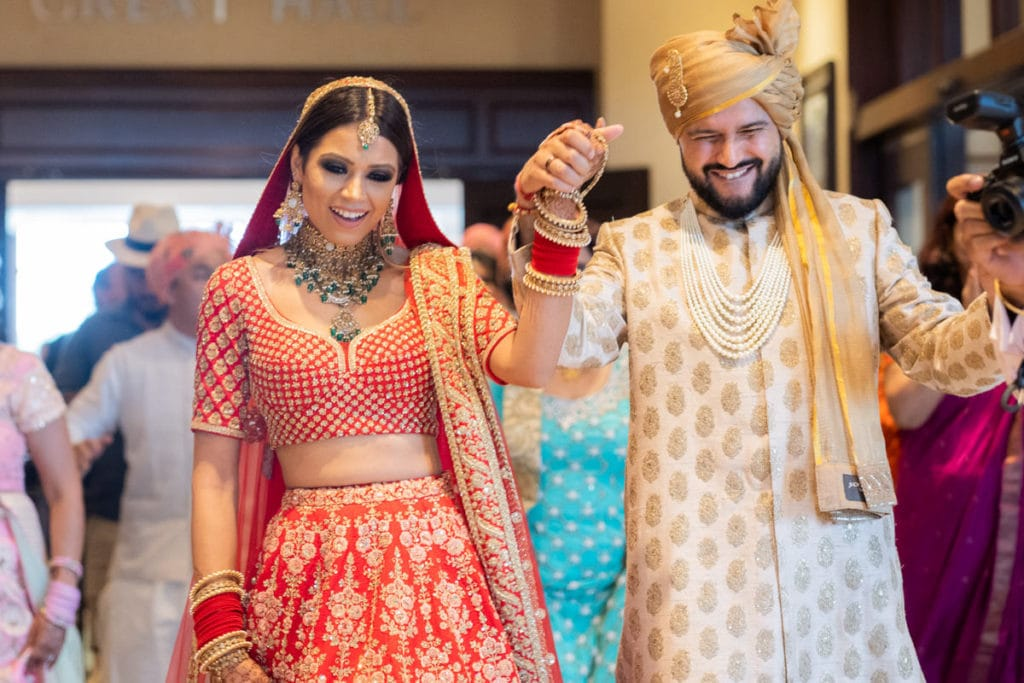 Indian Bride and Groom smile are they are just married
