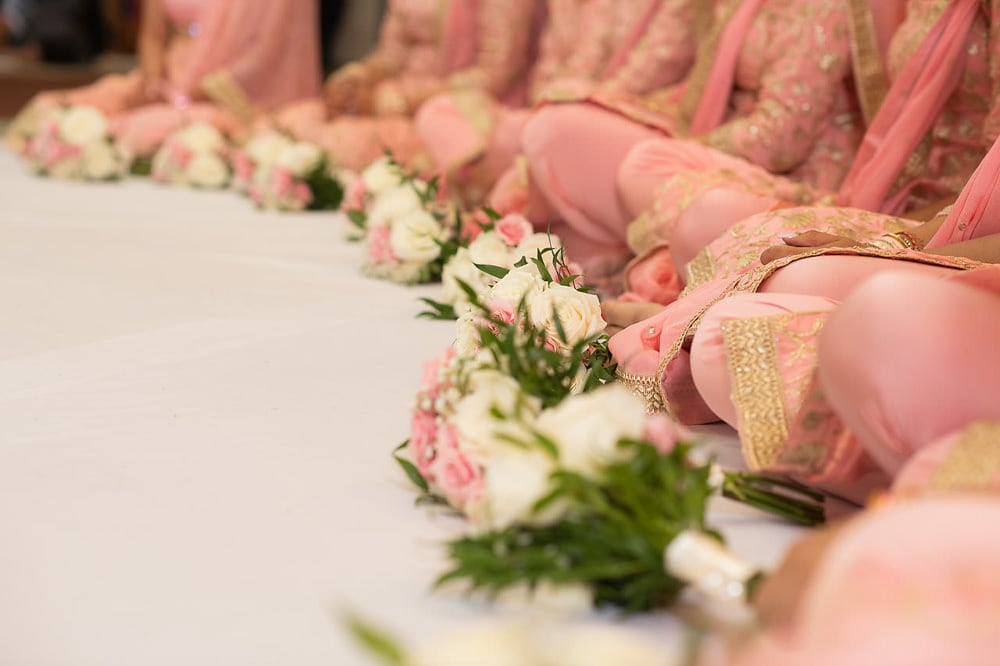 Bridesmaids' bouquets at Scarborough Sikh Gurdwara Toronto