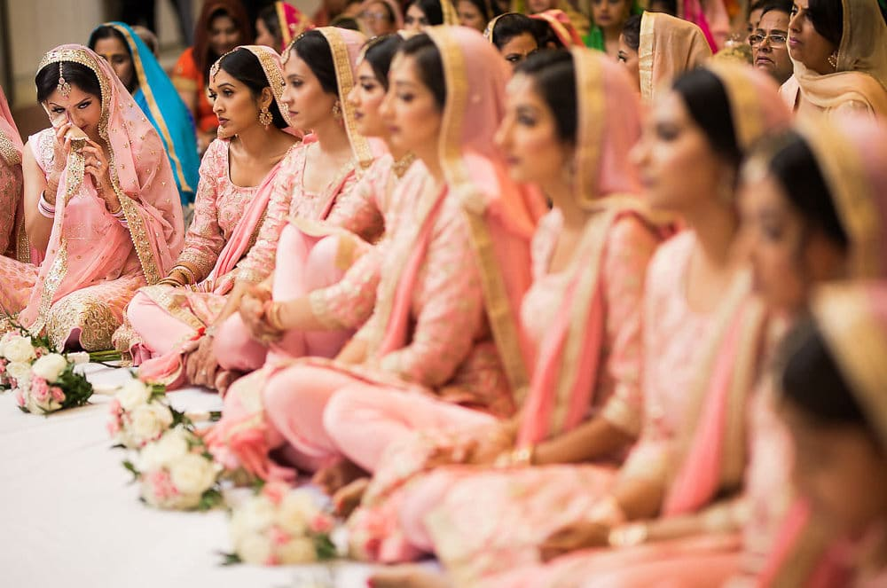 Sister and bridesmaids at Scarborough Sikh Gurdwara Toronto