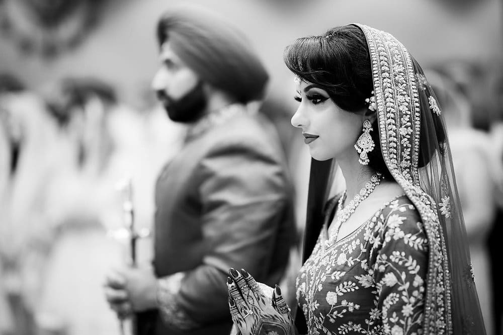 Indian bride and groom at Scarborough Sikh Gurdwara Toronto
