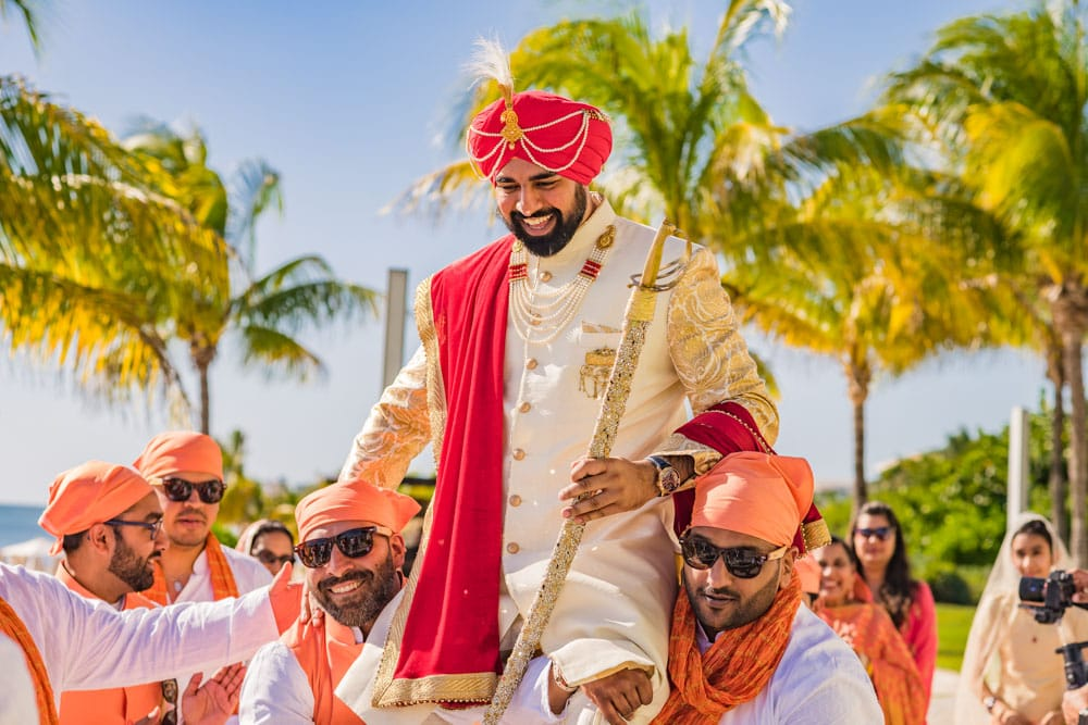 Baraat at his Indian wedding in Mexico