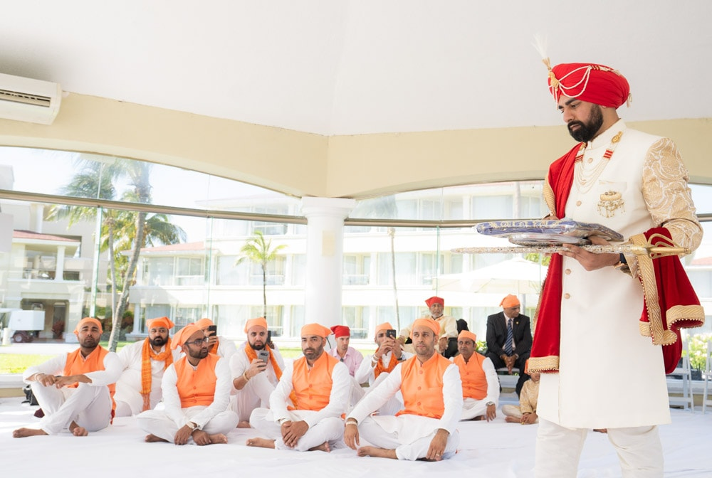 Moon Palace Sikh Hindu Indian Wedding in Cancun Mexico. Indian Sikh Groom.