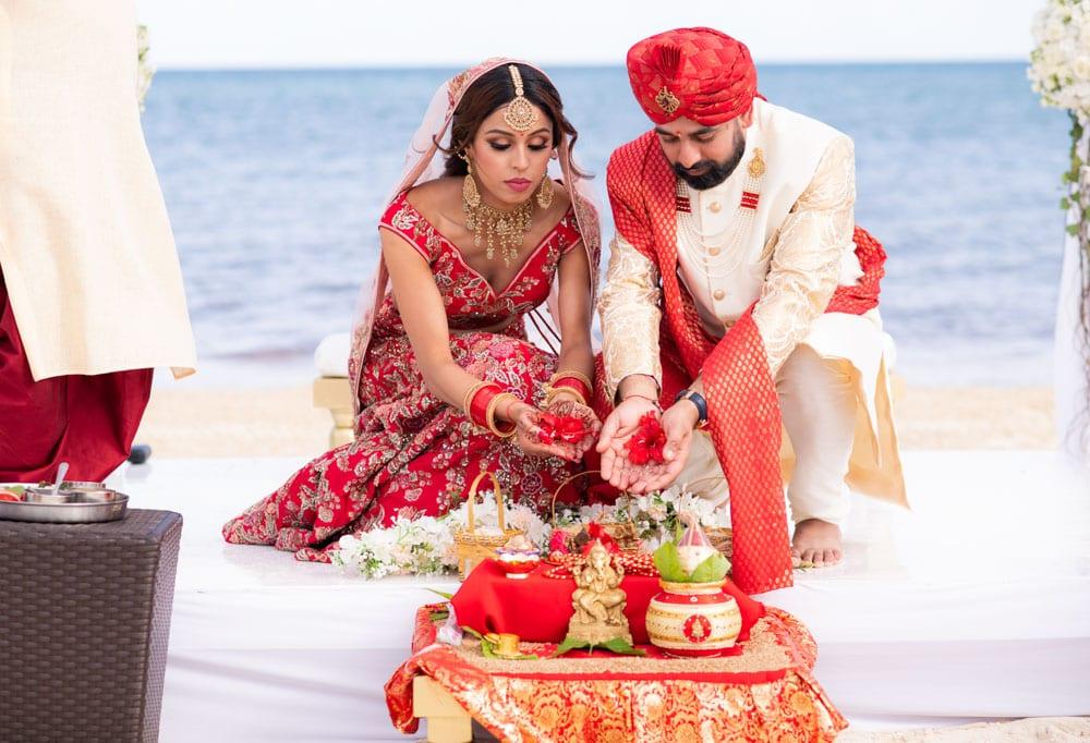 Mexico beach Indian wedding ceremony