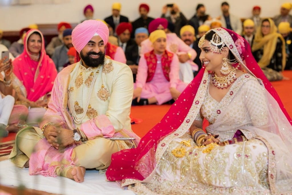 Traditional First Look at Sikh Wedding in Gurdwara