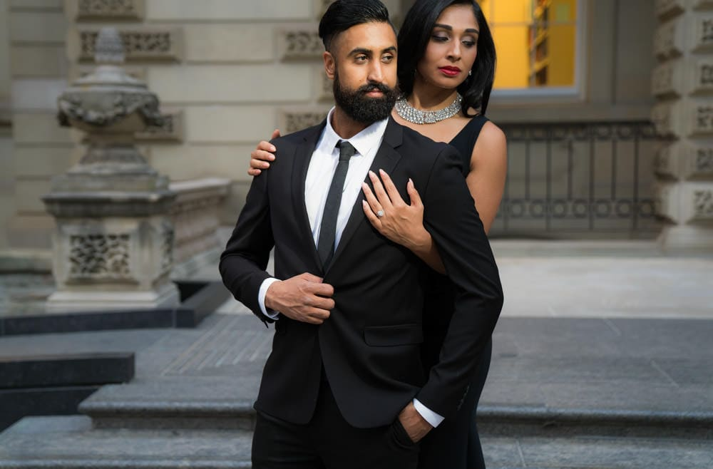 Formal attire for engagement shoot Toronto. Law-Society-Engagement-Shoot