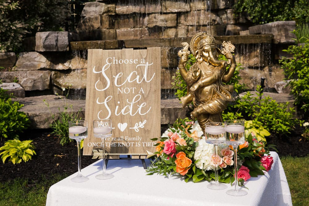 Floral Indian Wedding in Toronto at the Royal Ambassador. Choose a Seat not a Side.
