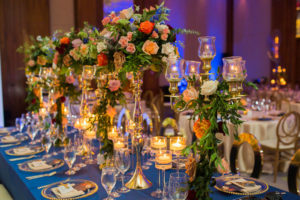 Floral Indian wedding decor at The Ritz-Carlton, Toronto.