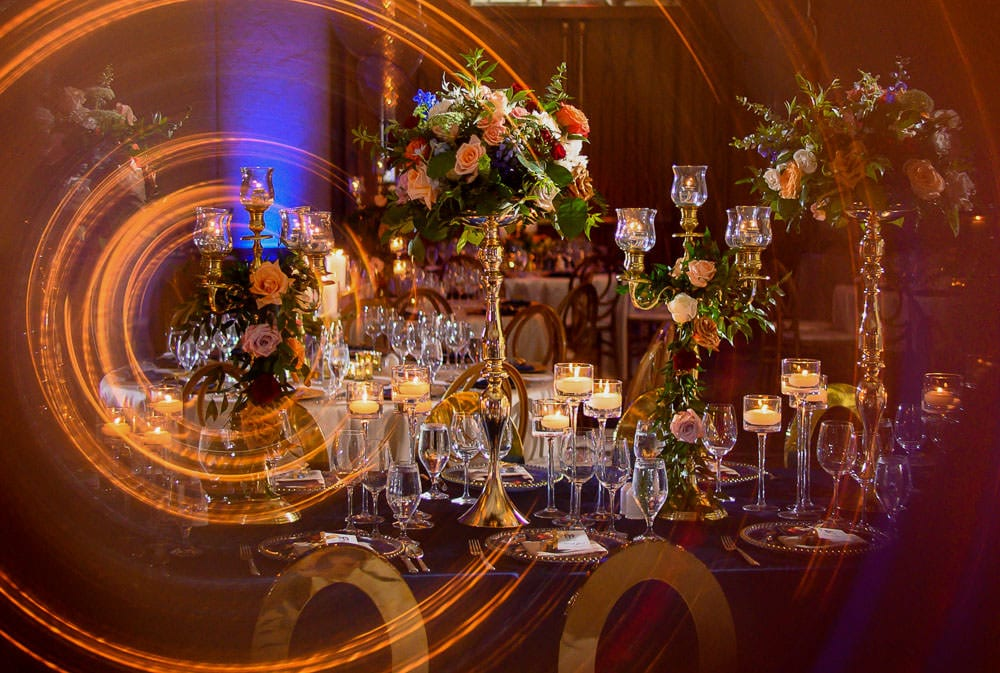 Floral Indian wedding reception at the Ritz-Carlton decor by Lemon Truffle.