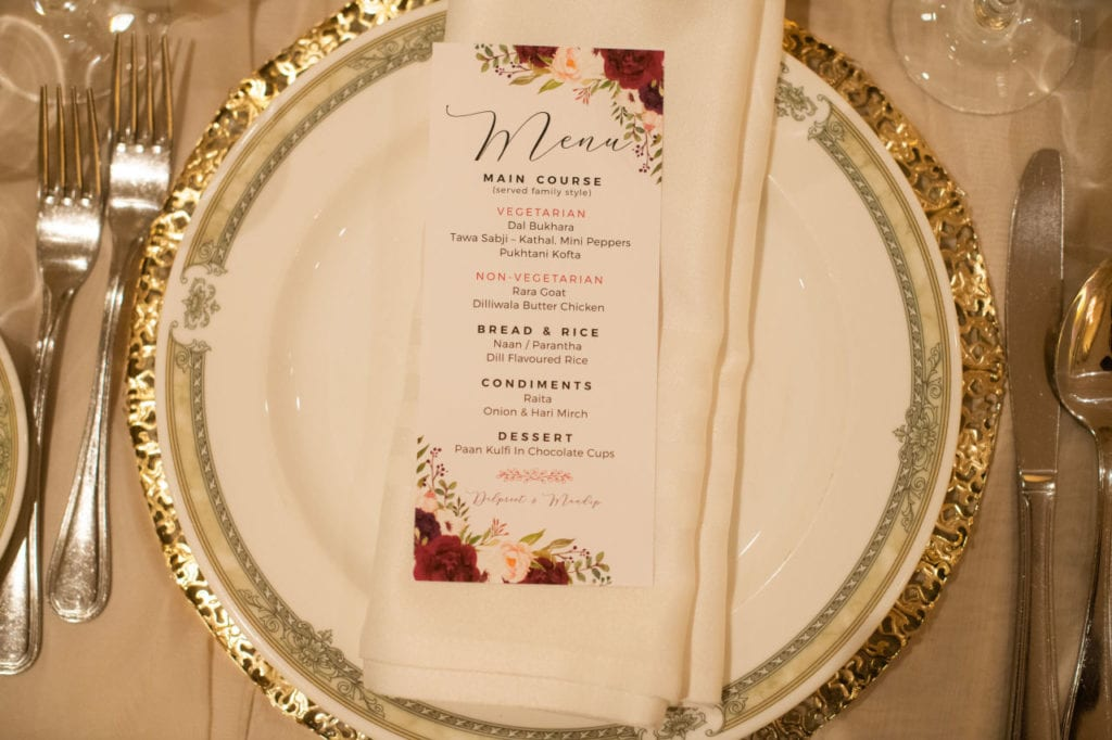 Sitdown 5-course menu for Indian wedding at Bellvue Manor, Toronto.