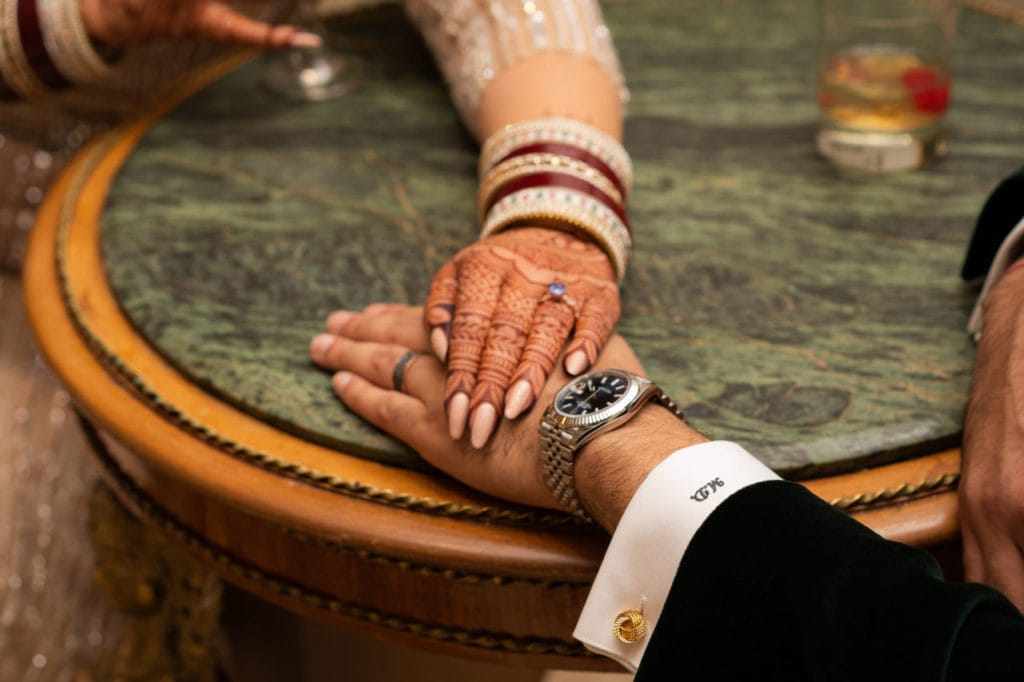 Modern Indian couple at their glamorous reception at the Bellvue Manor, Toronto.