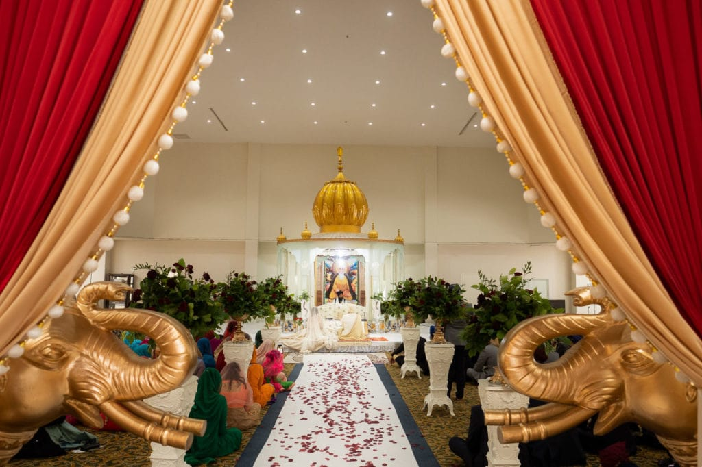 Beautifully decorated Sikh temple. Nanaksar gurdwara in Brampton Toronto.