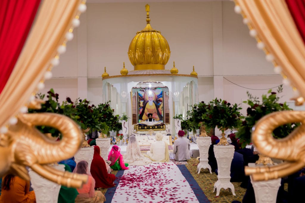 Sikh couple before their Anand Karaj at Nanaksar Gurdwara in Brampton, Toronto.