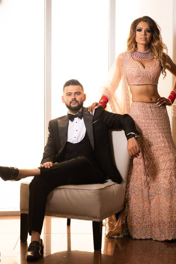 Modern Indian couple photoshoot at her  at Embassy Grand Indian Reception