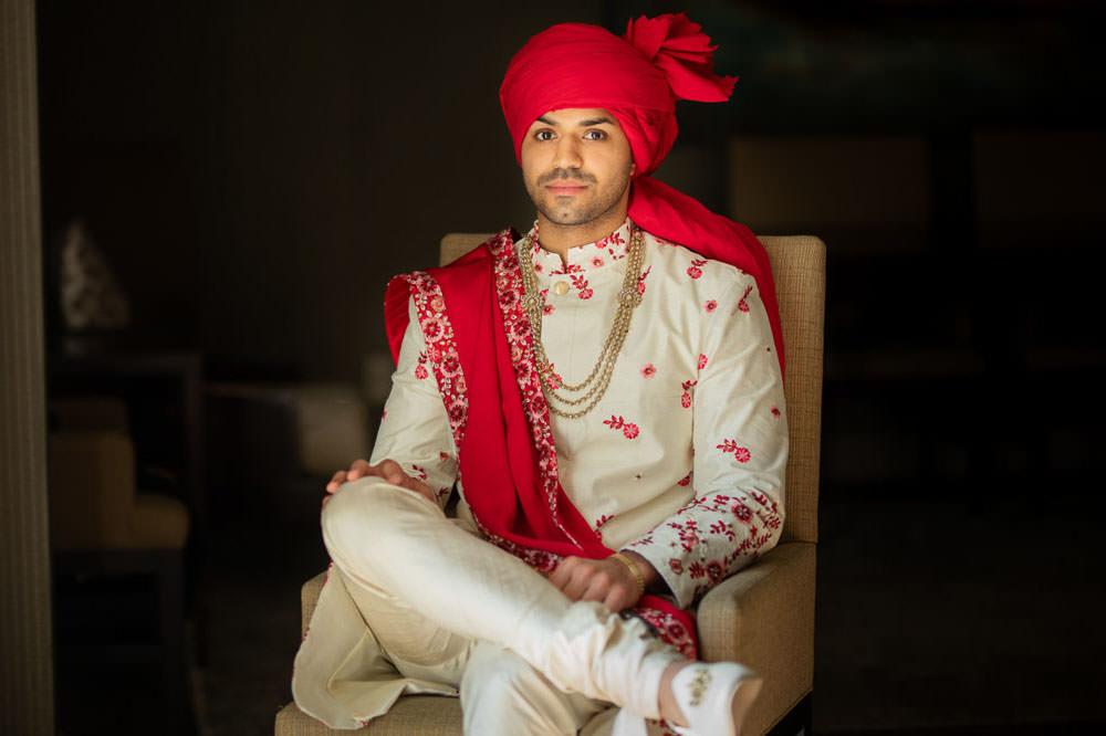 Indian groom at beach wedding at Westin Hilton Head