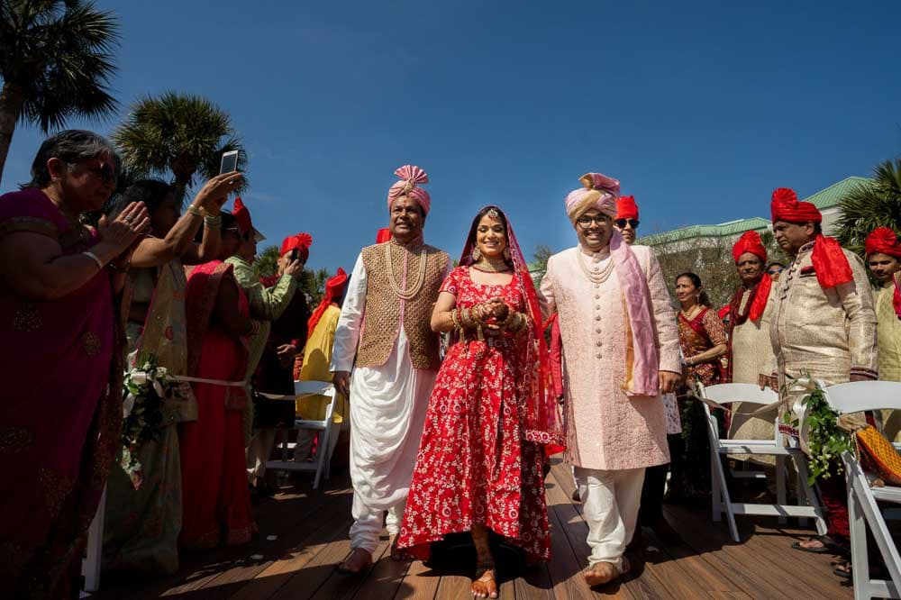 Indian bride makes her entrance at Hilton Head Indian Wedding