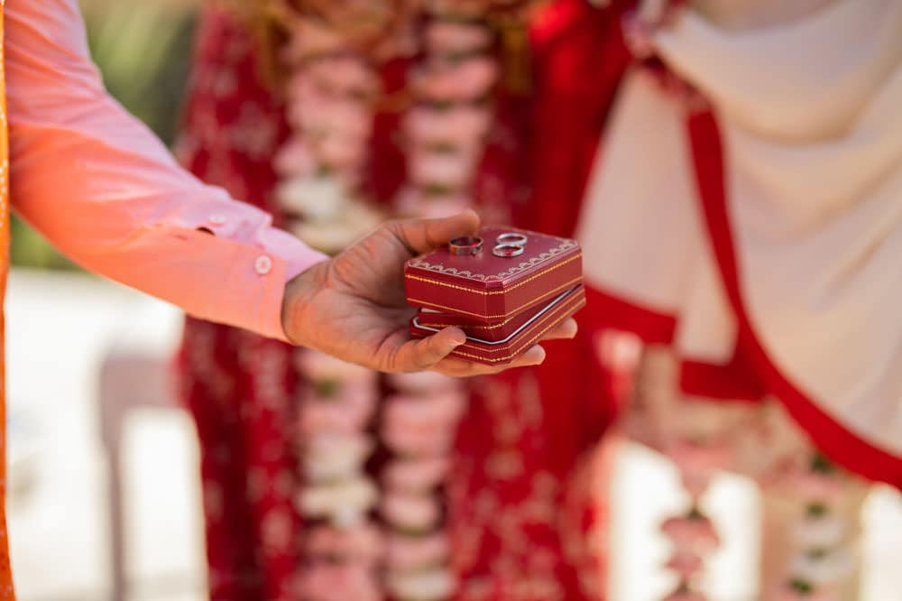 Exchange of rings at Hilton Head Indian Wedding