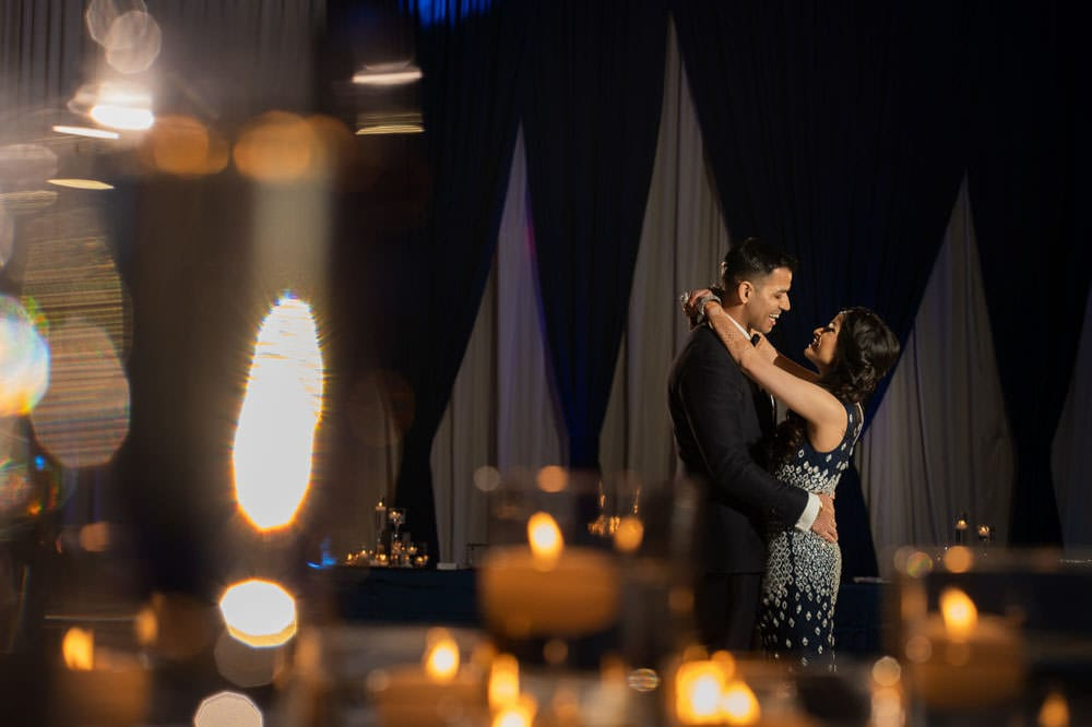 Indian couple first dance as MR and MRS at Hilton Head Indian Wedding Reception