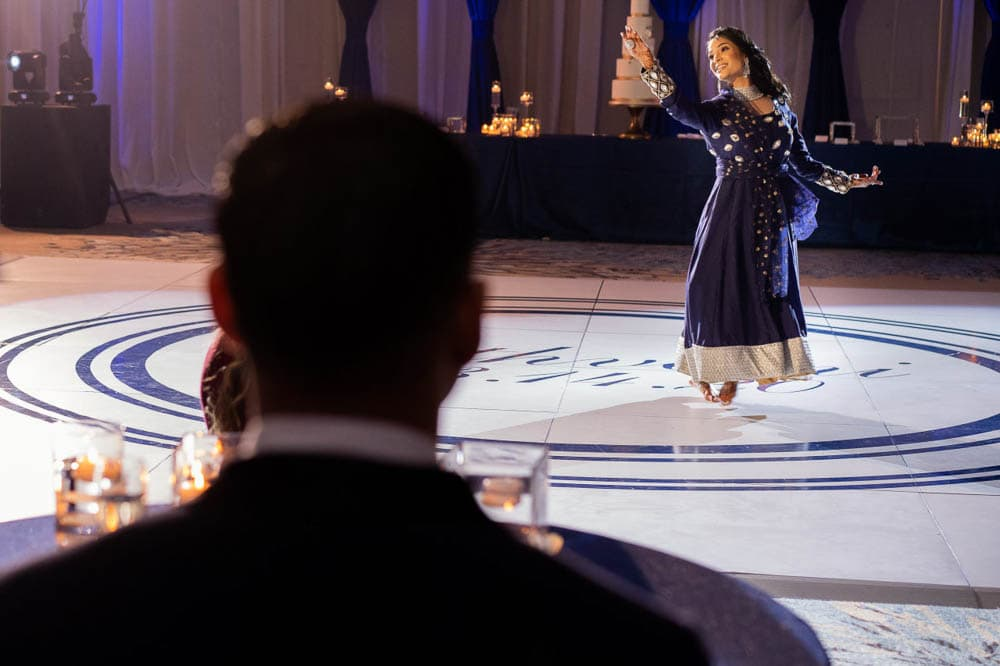 Indian bride surprise dance at Hilton Head Indian Wedding Reception