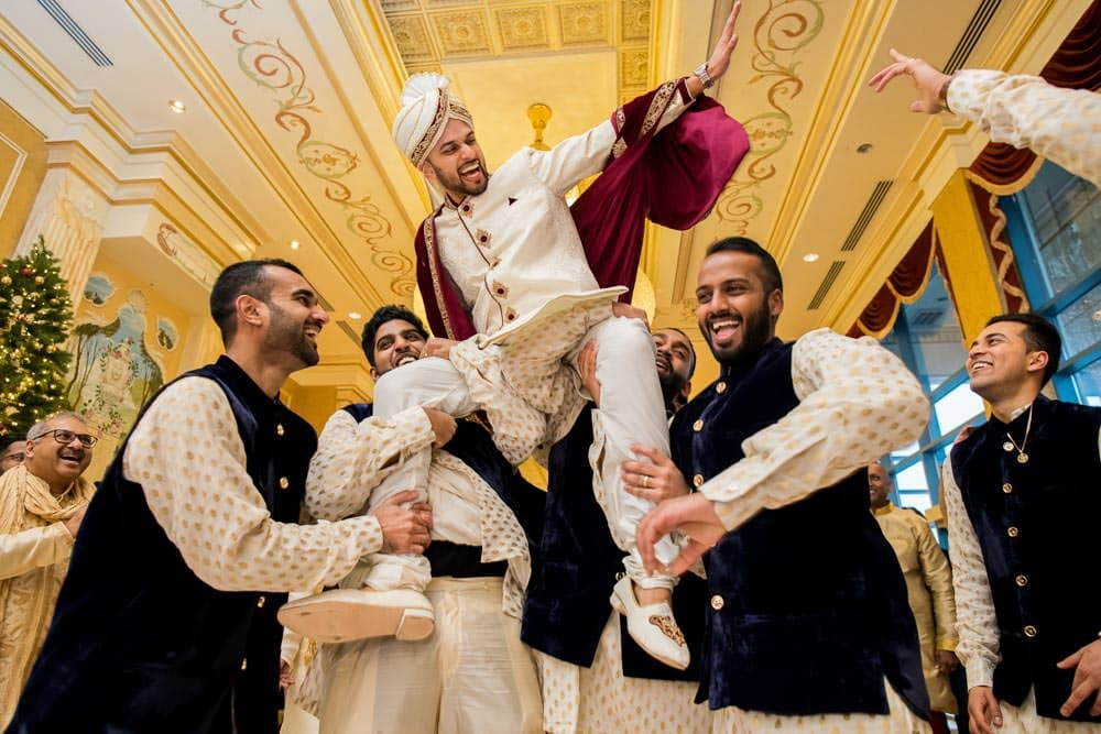 Indoor Baraat at Indian Winter Wedding