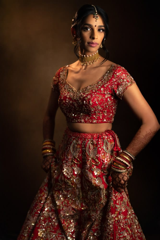 Red Indian Bridal Lengha for backyard wedding